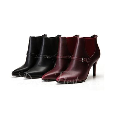 Suni deri İnce Topuk Pompalar Ayak bileği Boots Ile Düğme ayakkabı (088057406)