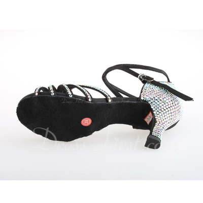 Women's Satin Sandals Pumps Latin With Rhinestone Ankle Strap Buckle Dance Shoes (053026926)