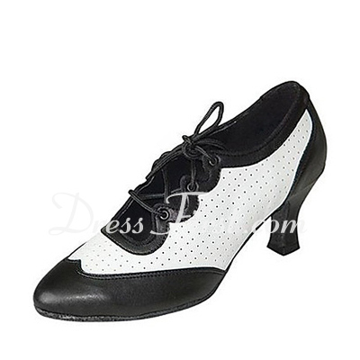 Women's Real Leather Heels Pumps Modern Ballroom Swing Practice Dance Shoes (053018594)