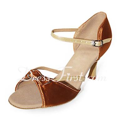 Kadın Saten Suni deri Topuk Sandalet Latin Ile Saten Fiyonk Dans Ayakkabıları (053013375)