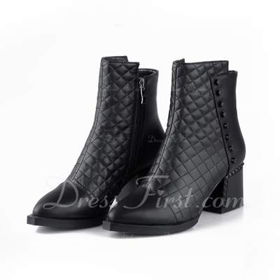 Suni deri Kalın Topuk Ayak bileği Boots ayakkabı (088056322)