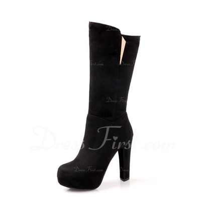 Suede Chunky Heel Knee High Boots With Sequin shoes (088054733)