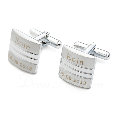 Personalized Square Stainless Steel Cufflinks (Set of 2) (118033682)