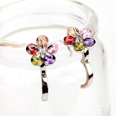 Çiçek Şekilli Zirkon/Platin Kaplama Bayanlar Küpeler (011057472)