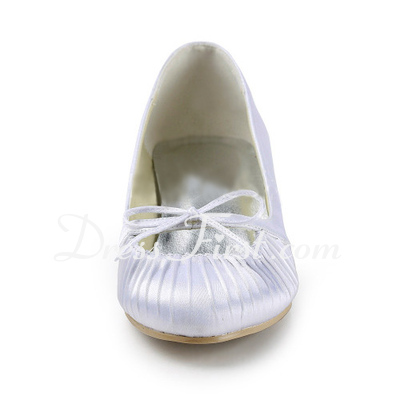 Satyna Low Heel Closed Toe Pompy Buty ślubne Bowknot (047011827)