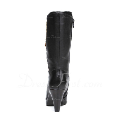 Gerçek Deri Külah Topuk Mid-Buzağı Boots Ile Yapay elmas ayakkabı (088057497)