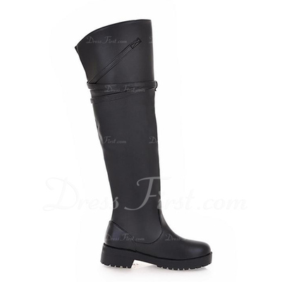 Leatherette Low Heel Knee High Boots Riding Boots shoes (088057480)