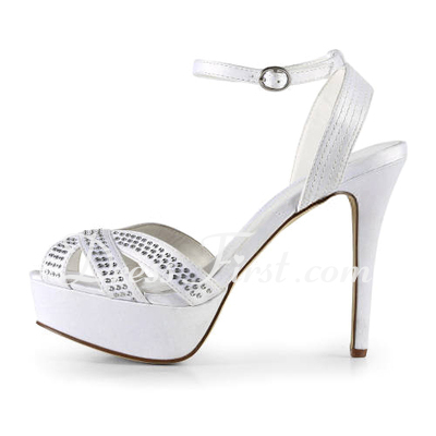 Women's Satin Stiletto Heel Peep Toe Platform Sandals With Rhinestone (047011886)