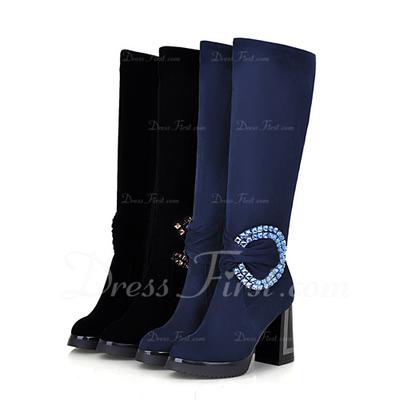 Süet Kalın Topuk Diz Yüksek Boots Ile Boncuklama ayakkabı (088057522)
