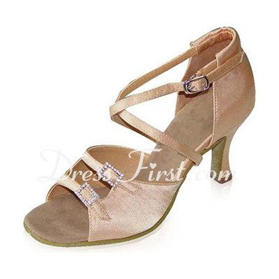 Women's Satin Heels Sandals Latin With Rhinestone Dance Shoes (053021594)