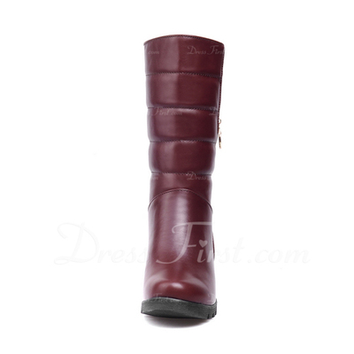 Suni deri Alçak Topuk Ayak bileği Boots Ile Fermuar ayakkabı (088057320)