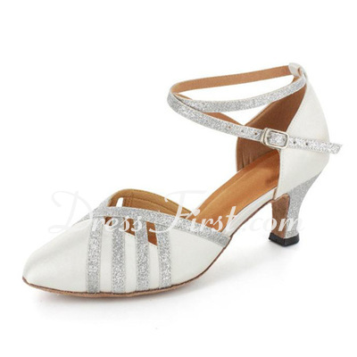 Women's Satin Sparkling Glitter Heels Pumps Modern With Ankle Strap Dance Shoes (053021523)