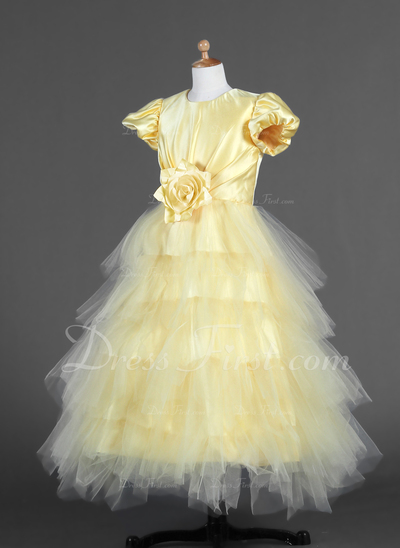 A-Line/Princess Ankle-length Flower Girl Dress - Tulle/Charmeuse Short Sleeves Scoop Neck With Ruffles/Flower(s) (010007294)