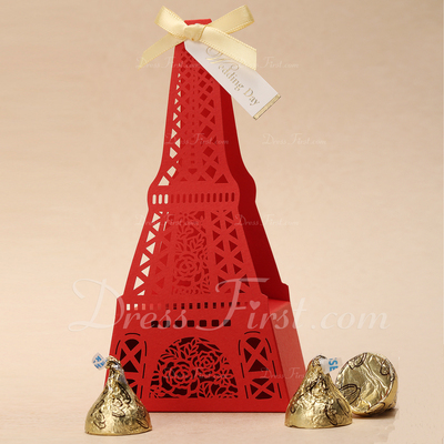 Eiffel Favor Boxes With Ribbons (Set of 12) (050038965)