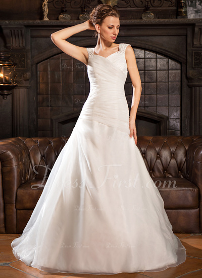 A-Line/Princess Off-the-Shoulder Chapel Train Organza Wedding Dress With Ruffle Beading Sequins (002022664)
