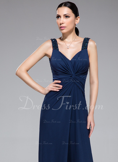Sheath/Column Sweetheart Asymmetrical Jersey Evening Dress With Beading Sequins Cascading Ruffles (017050426)