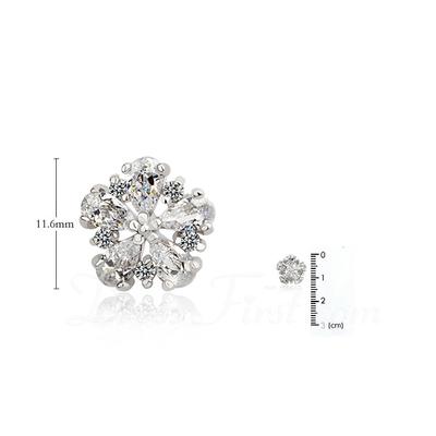 Charming Zircon/Platinum Plated Ladies' Earrings (011057418)