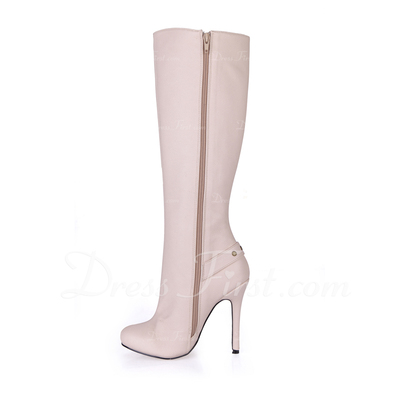 Leatherette Stiletto Heel Knee High Boots With Zipper shoes (088057019)