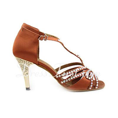 Kadın Saten Topuk Sandalet Latin Balo Ile Yapay elmas T-Askı Mücevher Topuk Dans Ayakkabıları (053013202)