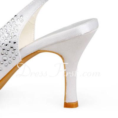Satin Plastic Stiletto Heel Peep Toe Pantofle Sandały Buty ślubne Z Rhinestone (047011806)