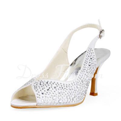 Saten İnce Topuk Burnu Açık Topuktan Bağlı Sandalet Düğün Ayakkabıları Ile Suni Elmas (047011806)