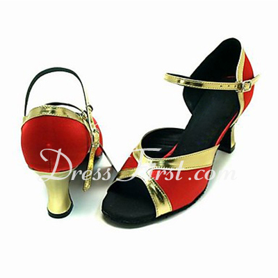 Women's Satin Leatherette Sandals Latin Ballroom Dance Shoes (053013583)