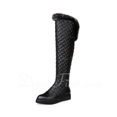 Real Leather Low Heel Knee High Boots With Fur shoes (088057379)