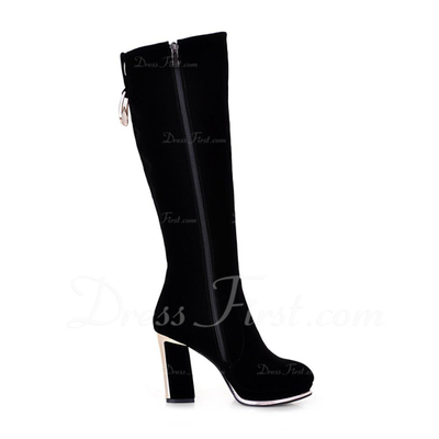 Suede Chunky Heel Knee High Boots With Sequin shoes (088054757)