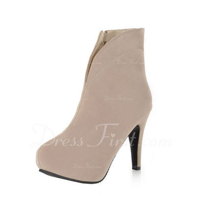 Leatherette Stiletto Heel Platform Ankle Boots With Zipper shoes (088036817)