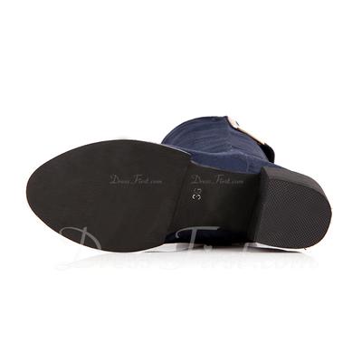 Süet Kalın Topuk Diz Yüksek Boots ayakkabı (088057272)