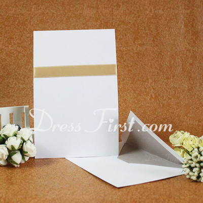 Classic Style Flat Card Invitation Cards With Ribbons (Set of 50) (114030732)