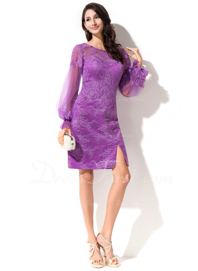 Sheath/Column Scoop Neck Knee-Length Lace Cocktail Dress With Split Front Cascading Ruffles (016050400)