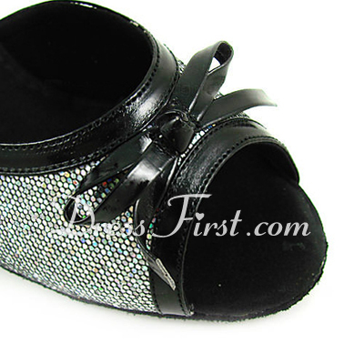 Women's Leatherette Sparkling Glitter Heels Sandals Latin Ballroom Wedding With Bowknot Dance Shoes (053013520)