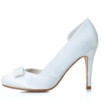 Women's Satin Stiletto Heel Closed Toe Pumps With Bowknot (047057095)