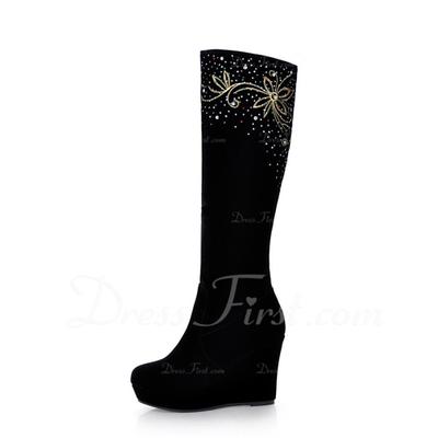 Süet Dolgu Topuk Takozlar Diz Yüksek Boots Ile Yapay elmas ayakkabı (088057385)