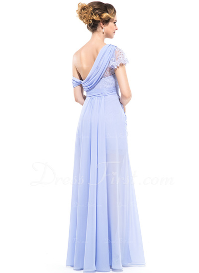 A-Line/Princess One-Shoulder Floor-Length Chiffon Holiday Dress With Ruffle Split Front (020050132)