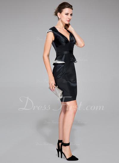 Sheath/Column Sweetheart Knee-Length Satin Cocktail Dress With Ruffle Beading Sequins (016050396)