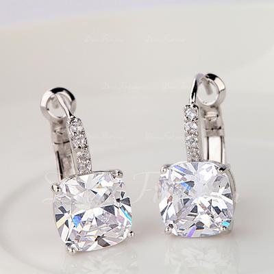 Exquisite Zircon/Platinum Plated Ladies' Earrings (011057414)