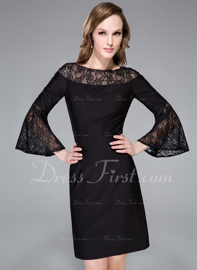 Sheath/Column Scoop Neck Knee-Length Lace Jersey Cocktail Dress (016042834)