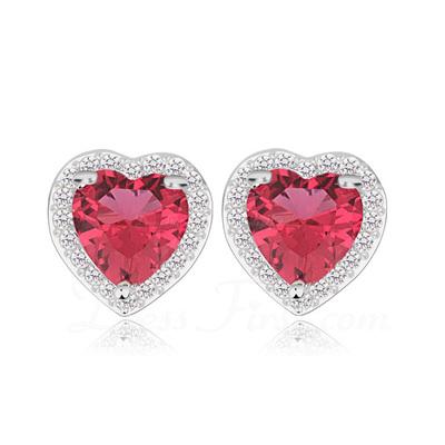 Kalp Şekilli Zirkon/Platin Kaplama Bayanlar Küpeler (011057424)