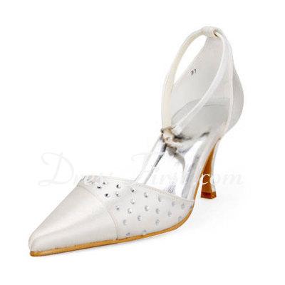 Satin Plastic Stiletto Heel Closed Toe Pompy Buty ślubne Z Rhinestone (047011897)