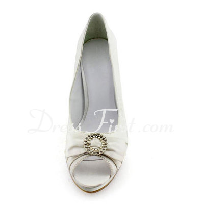 Women's Satin Stiletto Heel Peep Toe Platform Pumps Sandals With Bowknot Rhinestone (047011899)