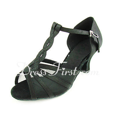 Women's Satin Heels Sandals Latin With T-Strap Dance Shoes (053013361)