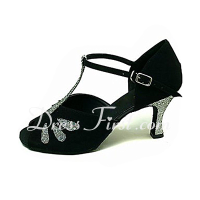 Women's Sparkling Glitter Nubuck Heels Sandals Latin Ballroom With T-Strap Dance Shoes (053013579)