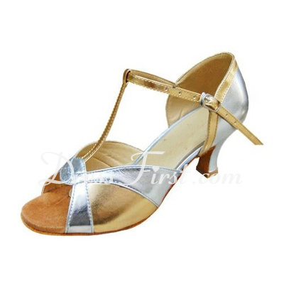 Women's Patent Leather Heels Sandals Latin With T-Strap Dance Shoes (053013015)