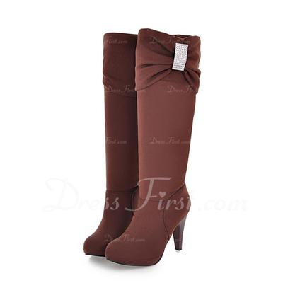 Süet İnce Topuk Diz Yüksek Boots Ile Yapay elmas ayakkabı (088057275)