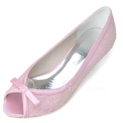 Kadın Satin Sivri Topuk Peep Toe Pompalar Ile Ilmek (047057087)