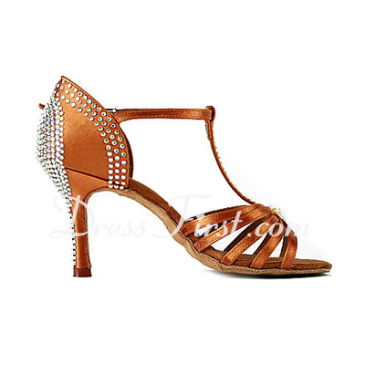 Women's Satin Heels Sandals Latin Ballroom Salsa Wedding Party With Rhinestone T-Strap Dance Shoes (053018642)
