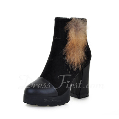 Leatherette Chunky Heel Platform Ankle Boots With Fur shoes (088054729)