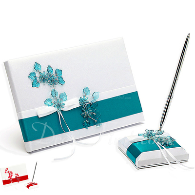 Flowers Design Bow Guestbook & Pen Set (101022568)